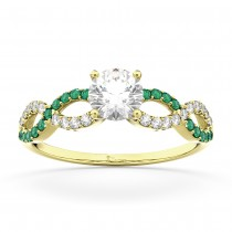 Infinity Diamond & Emerald Engagement Ring in 18k Yellow Gold (0.21ct)