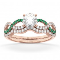 Infinity Diamond & Emerald Engagement Ring Set 14k Rose Gold 0.34ct