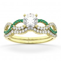 Infinity Diamond & Emerald Engagement Ring Set 18k Yellow Gold 0.34ct