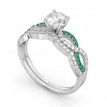 Infinity Diamond & Emerald Engagement Bridal Set Palladium (0.34ct)