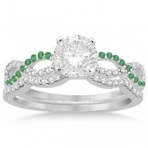 Infinity Diamond & Emerald Engagement Bridal Set in Platinum (0.34ct)