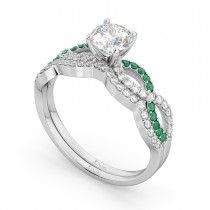Infinity Diamond & Emerald Engagement Bridal Set in Platinum (0.34ct)