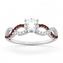 Infinity Diamond & Garnet Engagement Ring in 18k White Gold (0.21ct)
