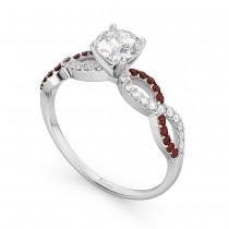 Infinity Diamond & Garnet Engagement Ring in 18k White Gold (0.21ct)
