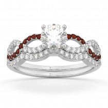 Infinity Diamond & Garnet Engagement Ring Set 14k White Gold 0.34ct
