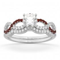 Infinity Diamond & Garnet Engagement Ring Set 18k White Gold 0.34ct