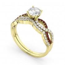 Infinity Diamond & Garnet Engagement Ring Set 18k Yellow Gold 0.34ct