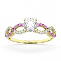 Infinity Diamond & Pink Sapphire Engagement Ring 14K Yellow Gold 0.21ct
