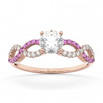 Infinity Diamond & Pink Sapphire Engagement Ring 18k Rose Gold 0.21ct
