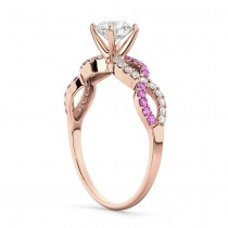Infinity Diamond & Pink Sapphire Engagement Ring 18k Rose Gold 0.21ct