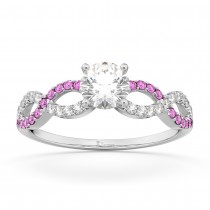 Infinity Diamond & Pink Sapphire Engagement Ring Platinum 0.21ct
