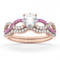 Infinity Diamond & Pink Sapphire Bridal Set 14k Rose Gold 0.34ct
