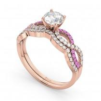 Infinity Diamond & Pink Sapphire Bridal Set 14k Rose Gold 0.34ct