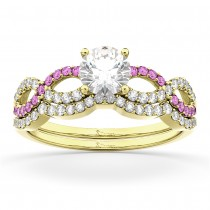 Infinity Diamond & Pink Sapphire Bridal Set in 14K Yellow Gold 0.34ct