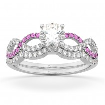 Infinity Diamond & Pink Sapphire Ring Bridal Set in Palladium 0.34ct