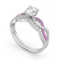 Infinity Diamond & Pink Sapphire Ring Bridal Set in platinum 0.34ct