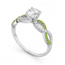 Infinity Diamond & Peridot Engagement Ring in 18k White Gold (0.21ct)