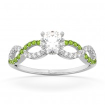 Infinity Diamond & Peridot Gemstone Engagement Ring Palladium 0.21ct