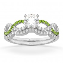 Infinity Diamond & Peridot Engagement Ring Set 14k White Gold 0.34ct