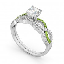Infinity Diamond & Peridot Engagement Ring Set 18k White Gold 0.34ct