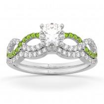 Infinity Diamond & Peridot Engagement Bridal Set Palladium (0.34ct)