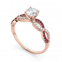 Infinity Diamond & Ruby Gemstone Engagement Ring 14k Rose Gold 0.21ct