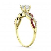 Infinity Diamond & Ruby Gemstone Engagement Ring 14K Yellow Gold 0.21ct