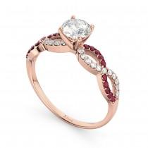 Infinity Diamond & Ruby Gemstone Engagement Ring 18k Rose Gold 0.21ct