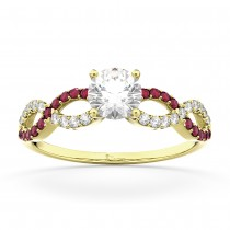 Infinity Diamond & Ruby Gemstone Engagement Ring 18K Yellow Gold 0.21ct
