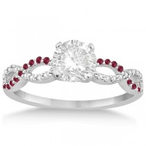 Infinity Diamond & Ruby Gemstone Engagement Ring Platinum 0.21ct
