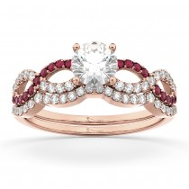 Infinity Diamond & Ruby Engagement Ring Set 14k Rose Gold 0.34ct