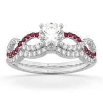 Infinity Diamond & Ruby Engagement Ring Set 14K White Gold 0.34ct