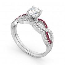 Infinity Diamond & Ruby Engagement Ring Set 18K White Gold 0.34ct