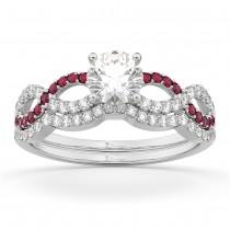 Infinity Diamond & Ruby Ring Engagement Ring Bridal Set platinum 0.34ct