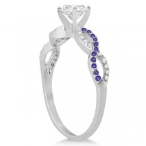 Infinity Diamond & Tanzanite Gemstone Engagement Ring Palladium 0.21ct