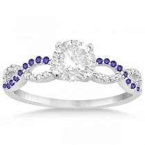 Infinity Diamond & Tanzanite Engagement Ring Set 18k White Gold 0.34ct