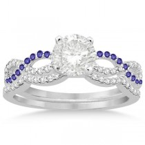 Infinity Diamond & Tanzanite Engagement Bridal Set Palladium (0.34ct)