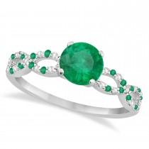 Diamond & Emerald Infinity Engagement Ring 14K White Gold 1.11ct