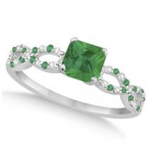 Diamond & Emerald Princess Infinity Engagement Ring 14k W. Gold 1.31ct