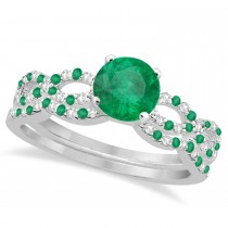 Infinity Style Emerald & Diamond Bridal Set 14k White Gold 0.85ct