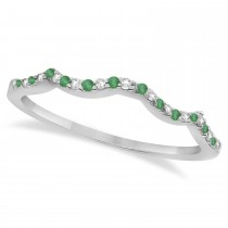 Emerald & Diamond Infinity Style Bridal Set 14k White Gold 1.25ct