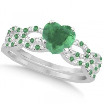 Emerald & Diamond Heart Infinity Style Bridal Set 14k W Gold 1.45ct