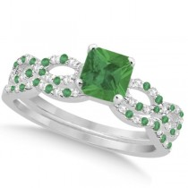 Emerald & Diamond Princess Infinity Bridal Set 14k White Gold 1.45ct