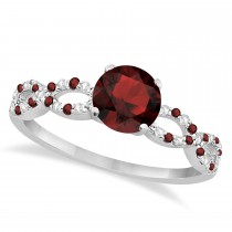 Infinity Diamond & Garnet Engagement Ring 14K White Gold 1.05ct