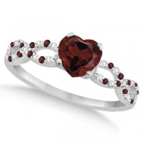 Diamond & Garnet Heart Infinity Engagement Ring 14k White Gold 1.50ct