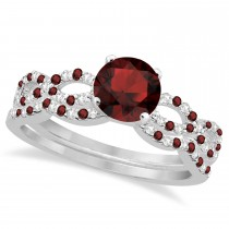 Diamond & Garnet Infinity Style Bridal Set 14k White Gold 2.24ct