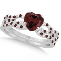 Garnet & Diamond Heart Infinity Style Bridal Set 14k White Gold 1.74ct