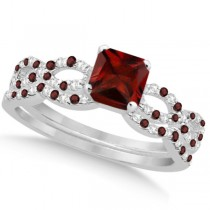 Garnet & Diamond Princess Infinity Bridal Set 14k White Gold 1.74ct