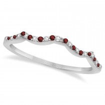 Diamond & Garnet Contour Wedding Band 14K White Gold 0.24ct