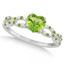 Diamond & Peridot Heart Infinity Engagement Ring 14k White Gold 1.31ct